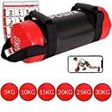 POWRX Power Bag 5-30 kg Kunstleder Fitness Bag für Functional Fitness (10 kg Schwarz/Rot)