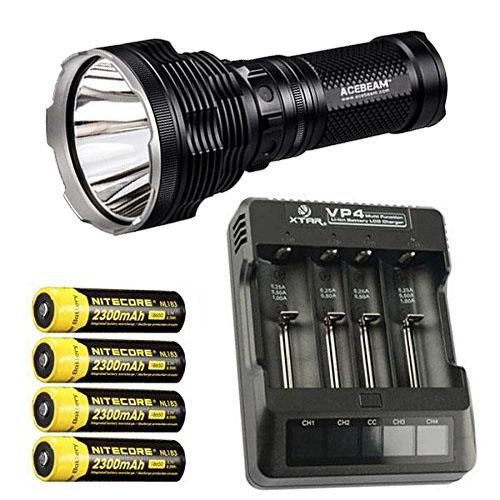 Bundle: Acebeam K70 Flashlight XHP35 HI LED -2600Lm w/Xtar VP4 Charger & 4x NL183 2300mAh Batteries