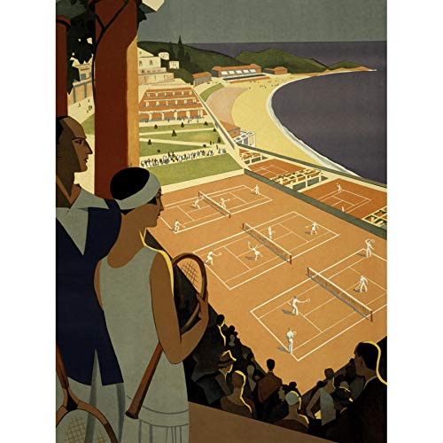 Wee Blue Coo Monte Carlo Monaco Tennis Vintage Unframed Art Print Poster Wall Decor 12x16 inch Vintage  Manifesto Parete