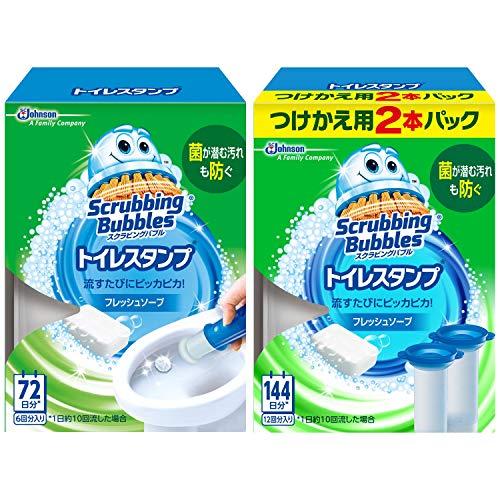 【まとめ買い】 スクラビングバブル トイレ洗浄剤 トイレスタンプ フレッシュソープの香り 本体 (ハンドル1...