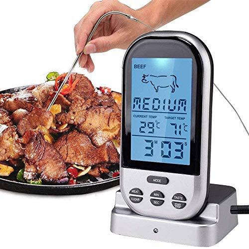 SMSOM LCD Grande LCD Cocina Digital Alimento Alimento Horno Horno Cocina BBQ Grill Thermometer Clock Temporizador con sonda de Acero Inoxidable, para Horno de Cocina BBQ, Plata