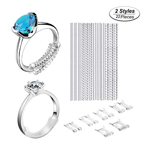 niCWhite, regolatore di dimensioni per anelli allentati, anello di protezione, riduttore di 10 misure per qualsiasi anello, 22 pezzi, 2 stili