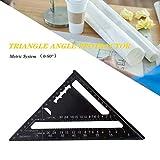 7 pouces métrique Équerre Triangle Règle d'Angle Rapporteur,Équerre Triangle Règle d'Angle Rapporteur Outil de Mesure en Alliage d'Aluminium de Haute Précision (Metric System)