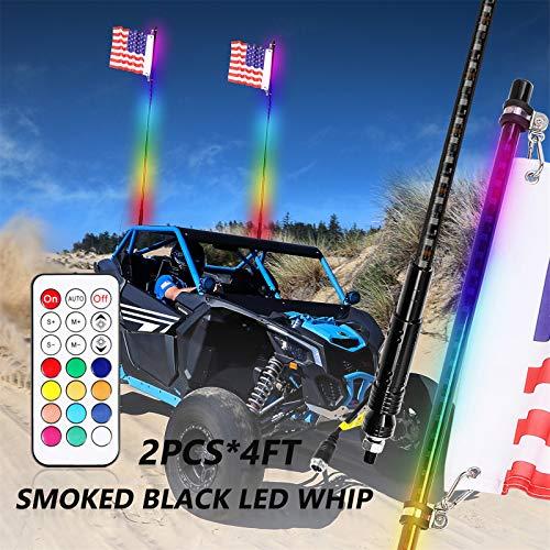 Niwaker 2Pcs 4ft Smoked Black LED Whip Lights with RF Remote Control RGB Dancing/Chasing Light Antenna LED Whips for ATV UTV Polaris RZR Off Road Truck Vehicle Dune 4X4