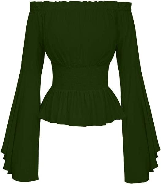 PerfectCOCO Women Vintage Blouse Medieval Top Off Shoulder Flare Sleeve Shirt Casual Loose T Shirt Boho Chiffon Tops