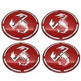 4 Piezas De Tapas De Centro De Cubo De Rueda, Emblema De Tapas De Centro De Llanta De 56mm, para Fiat Abarth Punto 124/125/125/500 stilo ducato , Pegatina De Accesorios De DiseñO De AutomóViles