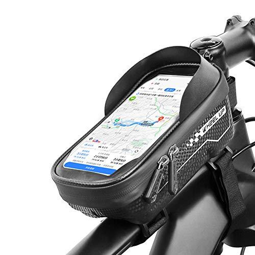 Bike Frame Bag Impermeable, Bicicleta Bolsa Manillar,Soporte Bolsa Táctil con El Visera del Sol para Debajo DE 6.5' Teléfono Gran Capacidad