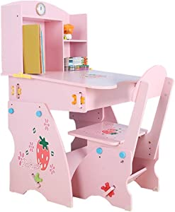 EXCLVEA-TCS Baby Activity Table- Children s Desk and Chair Set Height Adjustable Kids Student School Study Desk Table Work Station with Drawer Storage Baby Play Table  Color Pink  Size One size