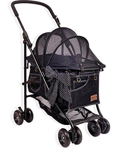 [マザーカート] Mother Cart アジリティー NEWブラックデニム(ゴールドステッチ) 下段 ペットカート ペットキャリー 多頭飼い 旅行 介護 お出かけ 最軽量