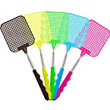 Tatuo 5 Pack Extendable Fly Swatter, Manual Swat Pest Control with Strong Flexible Durable Telescopic Handle, Lightweight, Assorted 5 Colors