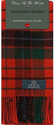 I Luv Ltd Nicholson Modern Tartan Clan Scarf 100% Soft Lambswool