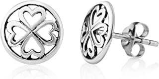 925 Sterling Silver Tiny Little Lucky Four Leaf Clover Heart Shaped Post Stud Earrings 10 mm