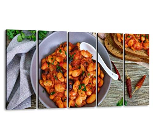 KiiAmy 5 Panels Art Wall Decor Stewed Broad Beans in Tomato Sauce with Herbs and Spices Closeup Artwork Modern Canvas Prints Office Bedroom Home Decor Framed Painting Ready to Hang (60''Wx32''H)