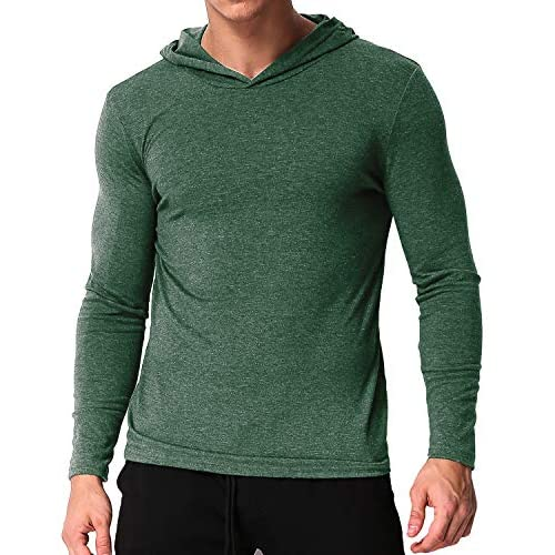 MODCHOK Men's Long Sleeve Hoodie T Shirts V Neck Hooded Tops Causal Hoody Lightweight Tshirt