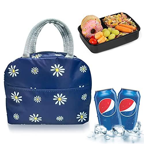 Kühltasche Faltbar Thermotasche,Picknick Korb Tasche,Kühltasche Faltbar Einkau,Picknicktasche Kühltasche,Lunch-Tasche Herren,Lunch Tasche. (Blaue Blume)