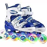 Patines en línea para niños juveniles para niños, patines en línea ajustables con ruedas iluminadas para niñas, niños, equipo de patinaje sobre hielo para interiores y exteriores, azul, S (26 ~ 32)