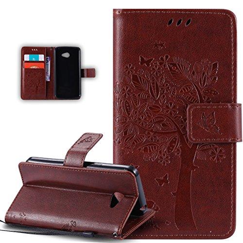 Kompatibel mit LG K5 Hülle,LG K5 Schutzhülle,LG K5 Leder Hülle,Prägung Katze Schmetterlings Floral Blumen PU Lederhülle Flip Hülle Handyhülle Ständer Tasche Wallet Hülle Schutzhülle für LG K5,Coffee