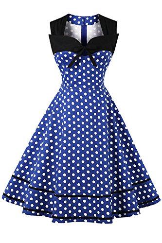 AXOE Robe Petits Pois Vintage Annee 50 Rockabilly Femme Bleu 40