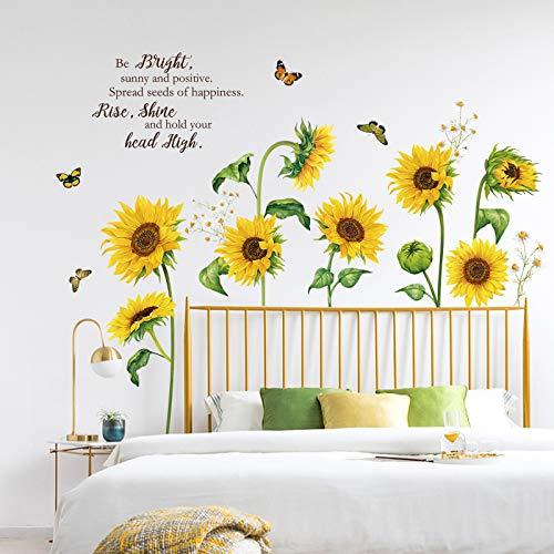 decalmile Adesivi Murali Girasole Adesivi da Parete Farfalla Fiore Giardino Decorazione Murale Camerette Bambini Soggiorno Camera da Letto
