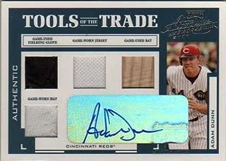 2004 Absolute Memorabilia Tools of the Trade Material Signature Quad #TT1 Adam Dunn Autograph Hat/Jersey/Glove/Bat #02/10 - Reds