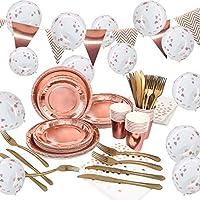 echoan 161 pezzi oro rosa party set, per 25 persone stoviglie di carta usa e getta per, tra cui plates, paper cups, paper napkins e palloncini coriandoli, banner