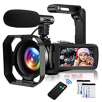 Video Camera Camcorder Full HD 1080P 30FPS 24MP Vlogging Camera for YouTube 16X Digital Zoom IR Night Vision Camcorder with Microphone Remote Control Lens Hood and 2 Batteries Time Lapse Webcam from YIDA TECH