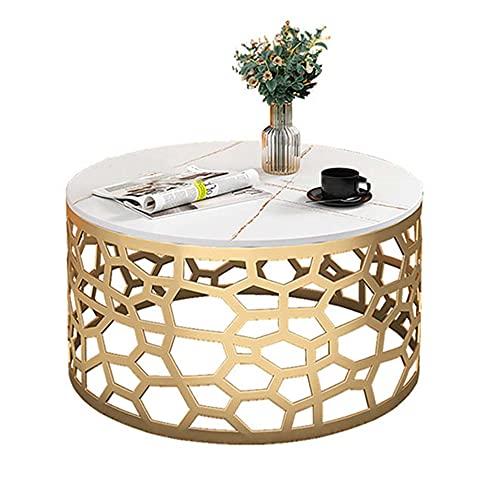 Mesa de centro de mármol, mesa redonda creativa móvil, adecuada para sala de estar/dormitorio/estudio/oficina/jardín, estructura de metal/anticorrosión y antioxidante/A / 60x45cm