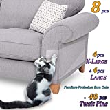8 Pcs Furniture Protectors from Cats, Cat Scratch Deterrent, Couch Protector 4 Pack X-Large (17'L 12'W) + 4 Pack Large (18'L 9'W) Cat Repellent for Furniture, Stop Pets from Scratching Furniture Couch