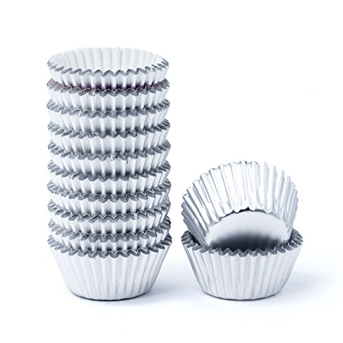 Mkustar 300 Count Foil Cupcake Liners Mini Paper Baking Cups Silver