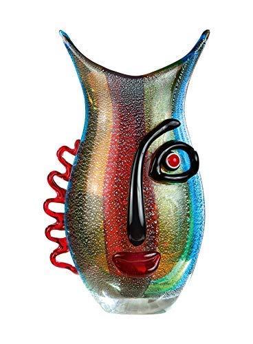 GILDE GLAS art Design-Vase - Dekoobjekt handgefertigt aus Glas H 32 cm