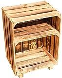 Kistenkolli Altes Land Table de chevet Blanc/naturel/flammé Dimensions env. 30 x 40 x 55 cm casier à pommes casier à vin étagère bouteille plateau / boîte à vin, Bois, Passé au chalumeau, 55x40x30cm