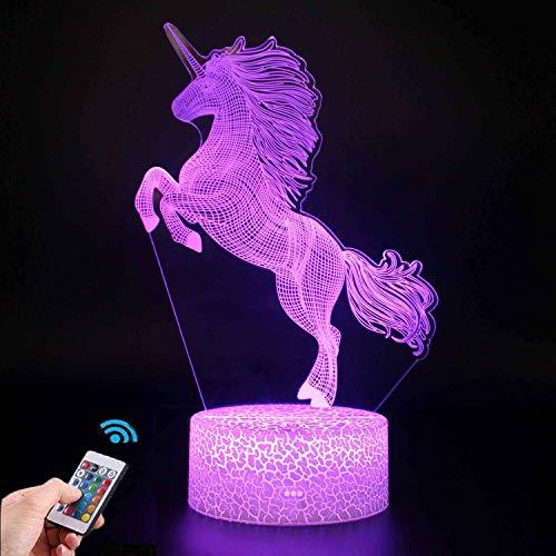 Einhorn Geschenk Einhorn Nachtlicht für Kinder, 3D Licht Lampe 7 Farben ändern mit Remote Urlaub und Geburtstagsgeschenke Ideen für Kinder(Einhorn6)