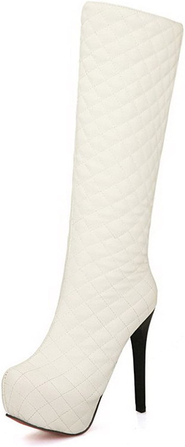 WeiPoot Women's Soft Material Checkered Closed-Toe Boots with Zippers and Thread