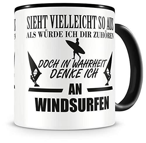 Samunshi® Ich denke an Windsurfen Tasse Kaffeetasse Teetasse Kaffeepott Kaffeebecher Becher H:95mm/D:82mm schwarz