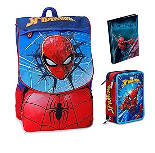 Sac à dos d'école Marvel Spiderman extensible + trousse 3 plans complet + journal standard 2021/22 + 7 stylos Scène effaçable avec porte-clés jeu cube