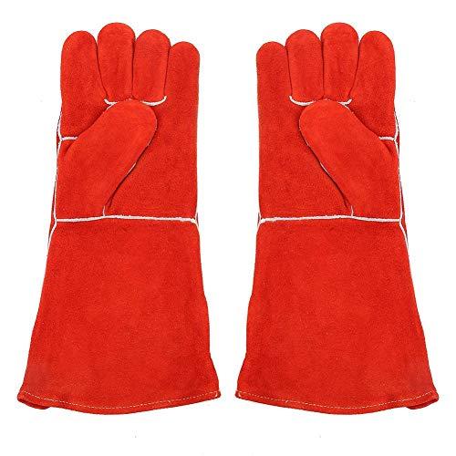 Preisvergleich Produktbild Schweißen schützende schützende,  rote 16in Faux Cow Split Schweißen Handschuhe elektrische Schweißen Schutzhandschuhe
