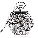 J-Love Reloj de Mano Viento Copo de Nieve mecánico Relojes de Bolsillo Reloj Hexagonal...