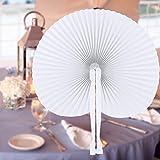 INNOCHEER 60 Stücke handfächer, Papier und Plastik fächer für Hochzeit & Party (Round)
