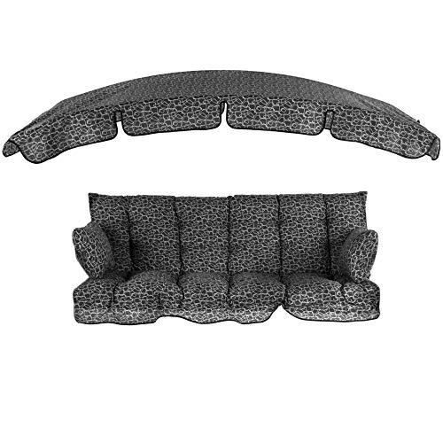 PATIO Auflagen Set Ravenna 175 cm mit Sonnendach für Hollywoodschaukel Polsterauflage Sitzkissen Rückenkissen Seitenkissen GestepptH018-07PB