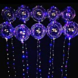 LED Balloons 10 Pack, Blinking Light Up Bobo Balloons 20 Inches Clear Helium Balloons, Glow Bubble Balloons with String Lights for Valentines Day Christmas Graduation Wedding Birthday Party Decoration (Colorful)