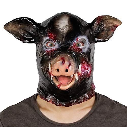 ZJMIYJ Halloween Maske,Halloween Black Electric Saw Schweinemaske Party Party Scary Pig Head Latexmaske Gruseliges Halloween Cosplay