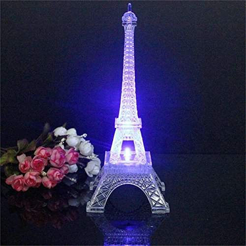 Aliciashouse Mini Torre Eiffel Noche Mesa de LED luz lámpara Escritorio Dormitorio decoración monomando-25 cm