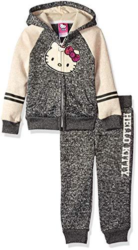 Hello Kitty 2 Piece Hooded Fleece Active Set Pull à Capuche, Anthracite/crème, 2 Ans Bébé garçon