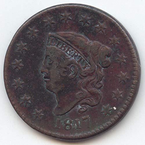 1817 Coronet Head 15 Stars Large Cent Extra Fine Details