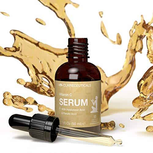 CLAIRECEUTICALS Serum Facial Vitamina C - Serum Vitamina C con Hialuronato de Acido Hialuronico - Vitamina C Serum Contorno de Ojos Antiarrugas Mujer - Serum Exfoliante Facial y Antiojeras Mujer, 50ml