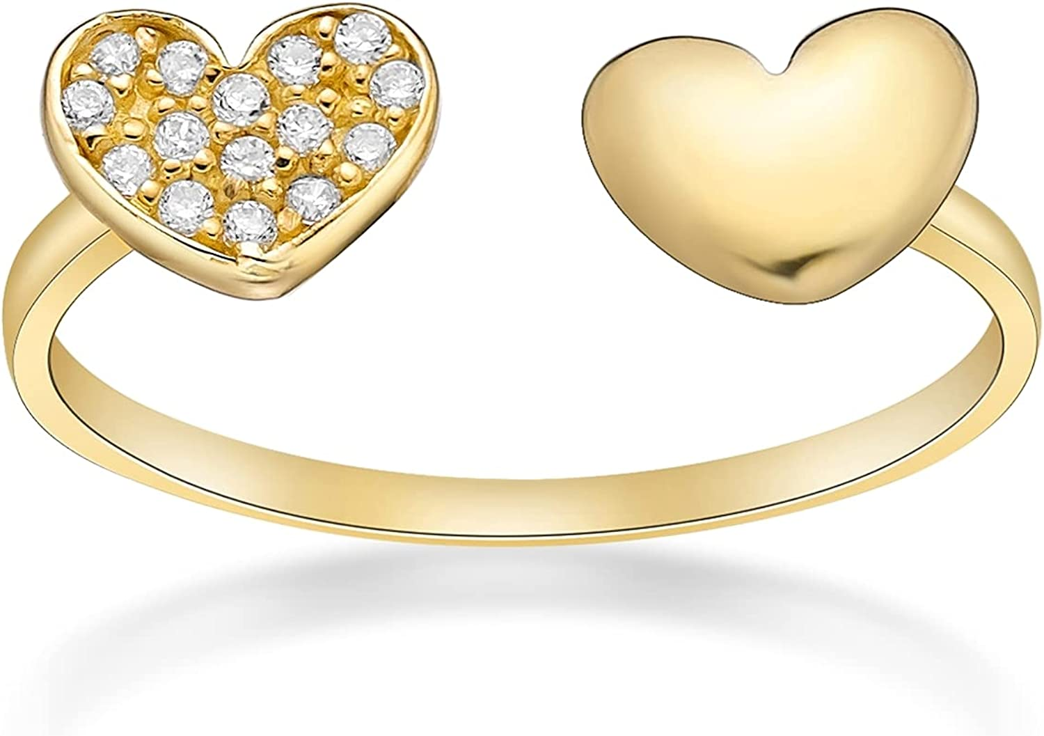 Cubic Zirconia Adjustable Double Heart Toe Ring in 10k Yellow Gold 5 MM Wide by Lavari Jewelers