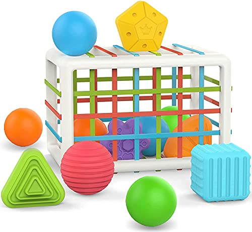 Shape Sorter for 1 2 3 4 Year Old Toddlers - Cube Sensory Sorting Baby Toy...