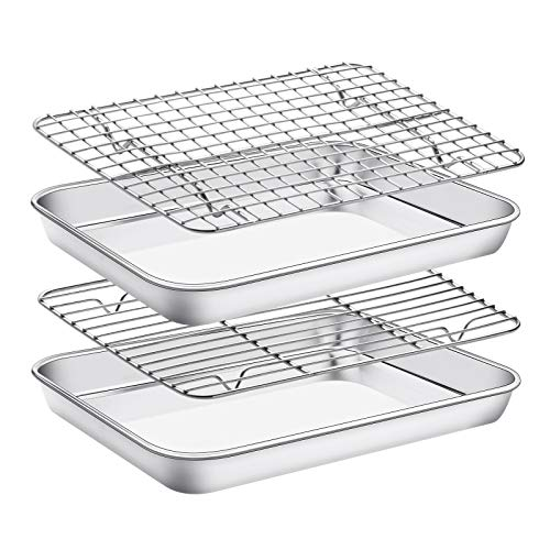 Baking Sheet with Cooling Rack Set , Set of 4 [2 Sheets+2 Racks],Size 10x8x1 Inch, EstmoonStainless Steel Cookie Sheet for Baking Use, Baking Pan Non Toxic &Heavy Duty ,Oven & Dishwasher Safe