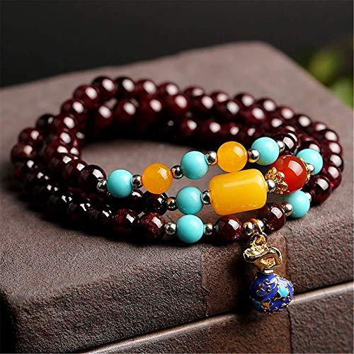 Feng shui riqueza pulsera granate natural pulsera de cristal buddha perlas coleccionables tres capas collar collar cura cristal afortunado encantos atraen buena suerte dinero regalo para mujeres / hom