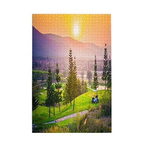 Puzzle aus Holz, 1000 Stück, Natur, Golf, Resort, Park im Frühjahr, mit Bäumen, Sonnenuntergang, Hügel und Tal, Ende des Tages, Bildpuzzles für Kinder